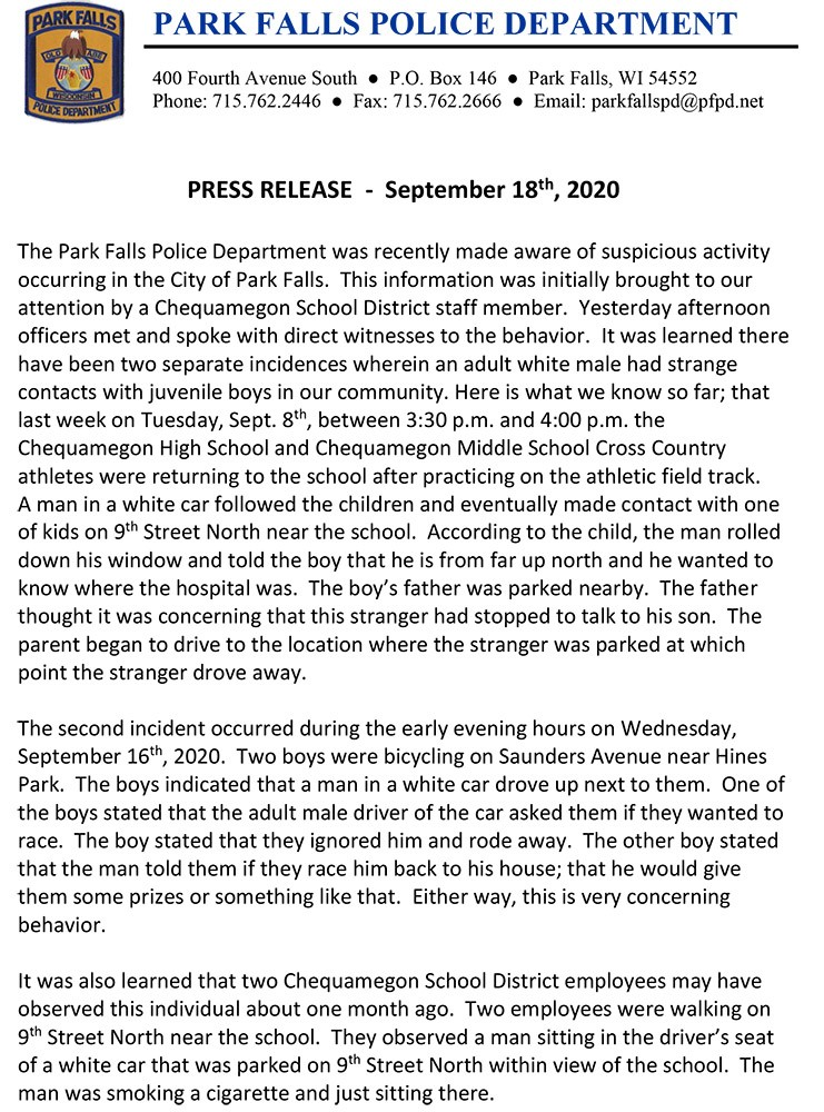 PFPD Press Release 20200918- Stranger_pg1